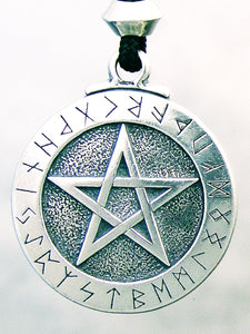 Runic Pentacle Pewter Pendant Necklace celtic-copper-jewelry.myshopify.com