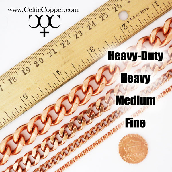Heavy Copper Cuban Curb Chain Necklace NC77 Men's 10mm Solid Copper Curb Necklace Chain 24-inch