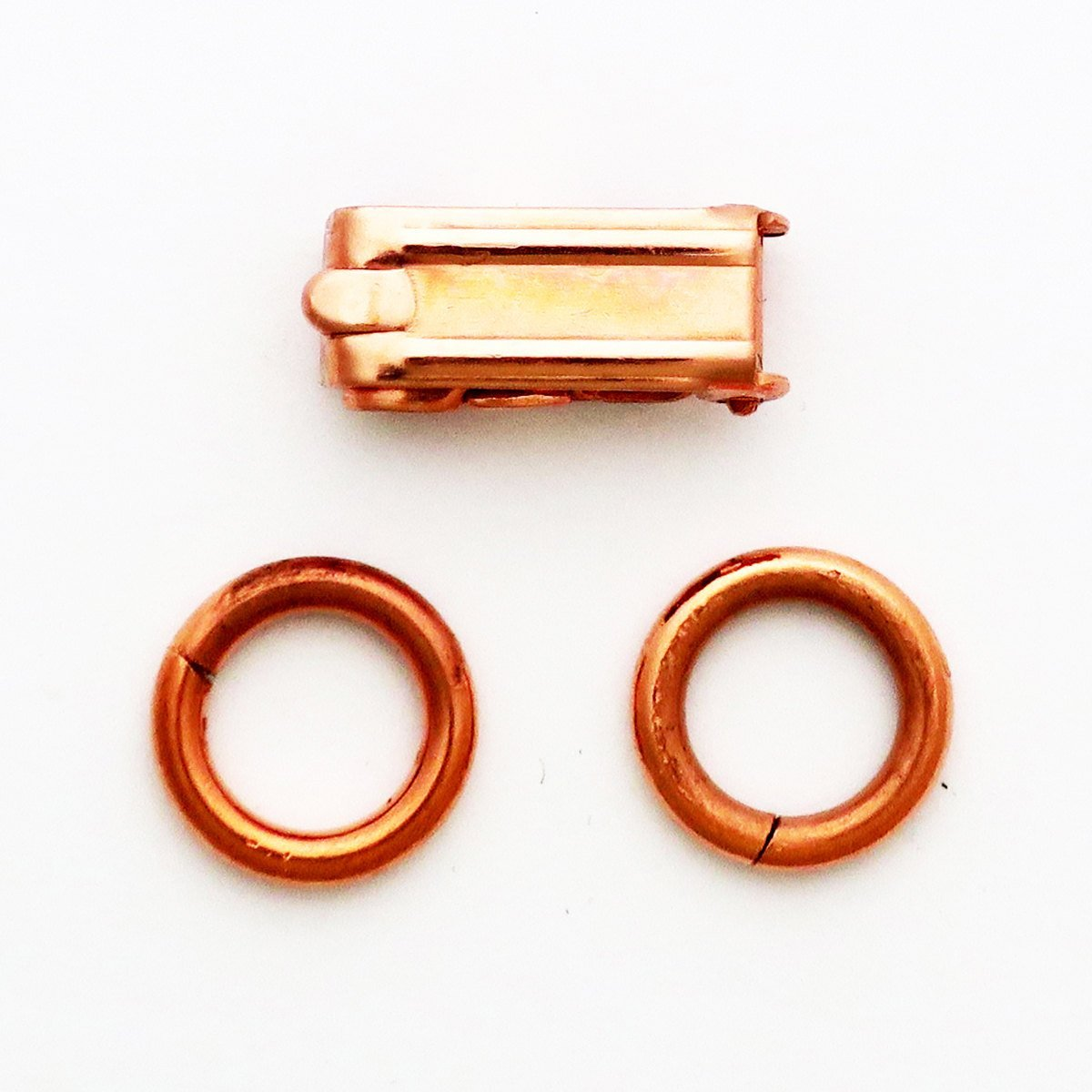 Heavy Fold Over Copper Clasp Repair Kit 6x14 mm Single Solid Copper Clasp Kit with 2 Rings celtic-copper-jewelry.myshopify.com