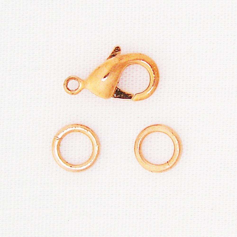 Copper Lobster Lock Clasp Kit 3-piece Repair Kit One 12mm Copper Clasp with Two Jump Rings JSCL12 Supplies for Copper Jewelry Making celtic-copper-jewelry.myshopify.com