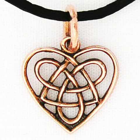 Celtic Knot Work Heart Charm Necklace with Solid Copper Pendant on a Copper Chain celtic-copper-jewelry.myshopify.com