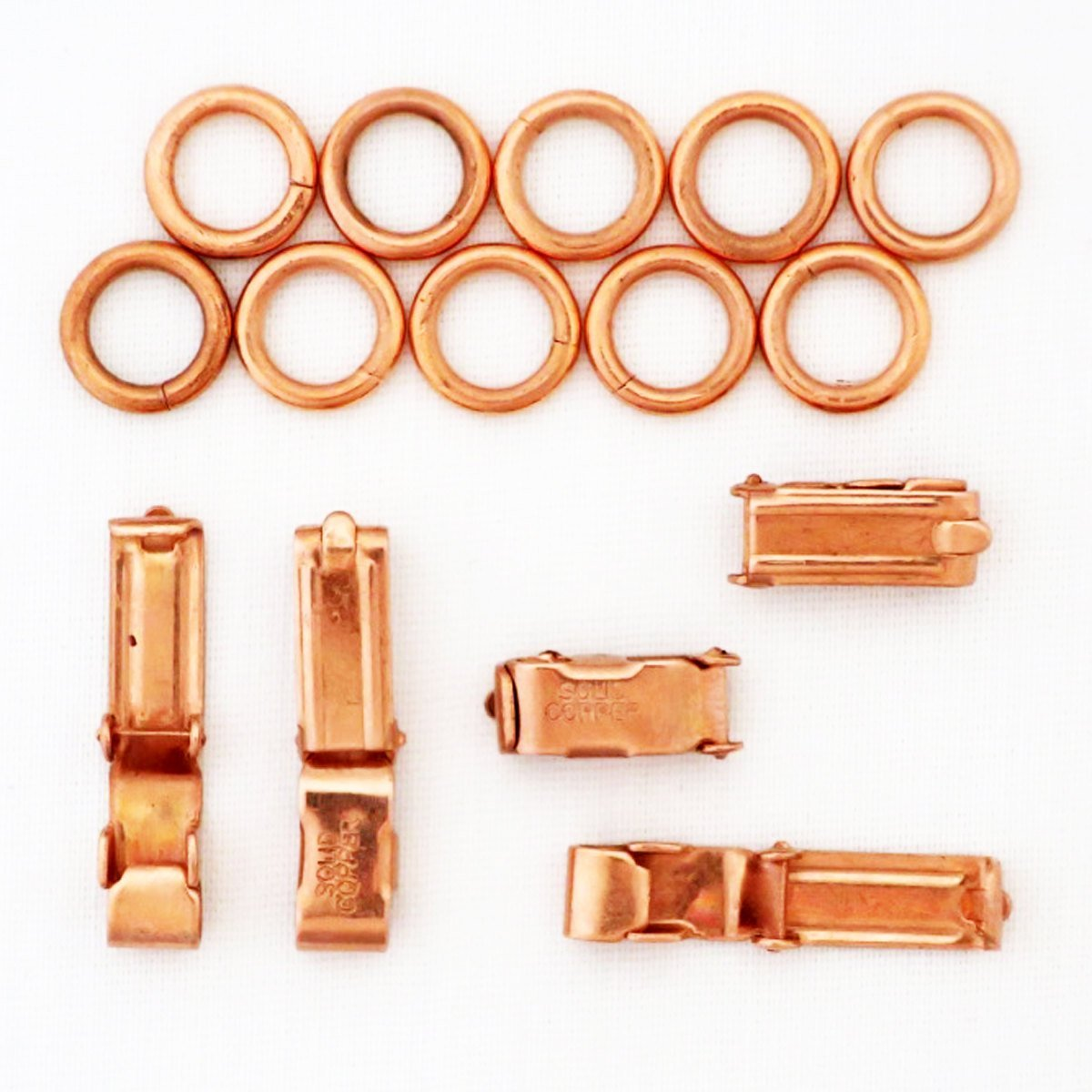 Heavy Fold Over Copper Clasp Repair Kit 6x14 mm Bulk 5-Pack Solid Copper Clasp Kits celtic-copper-jewelry.myshopify.com