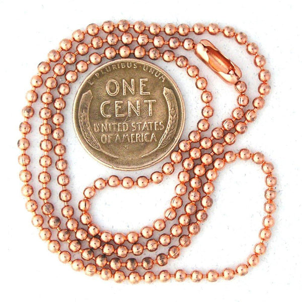 Custom Copper Fine Bead Chain Necklace NC24C,  Customizable Lightweight Ball Chain Solid Copper Necklace, Long Custom Copper Pendant Chain celtic-copper-jewelry.myshopify.com