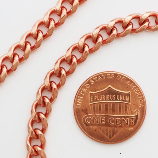 "Medium 18-inch Copper Cuban Curb Chain Necklace, NC72 Pure Copper 5mm Curb Chain 18"" Necklaces celtic-copper-jewelry.myshopify.com"