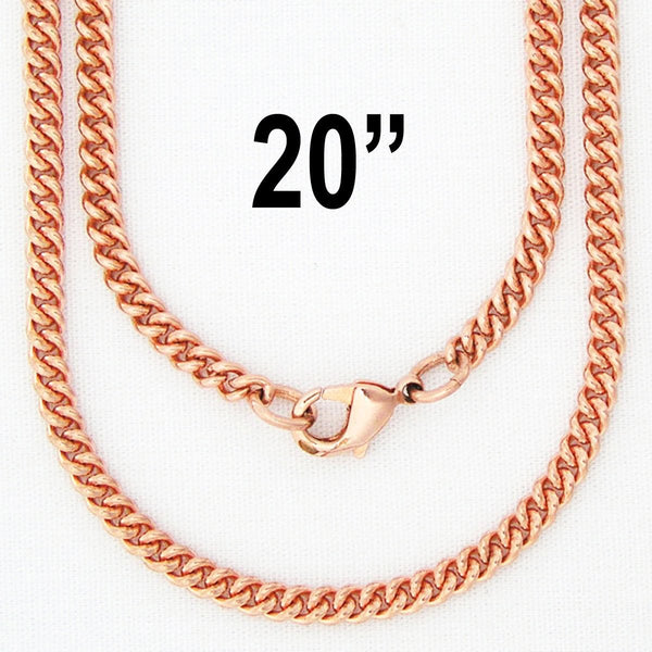 "Fine 20-inch Copper Cuban Curb Chain Necklace NC71, Perfect Lightweight Solid Copper 20"" Chain For Pendants celtic-copper-jewelry.myshopify.com"