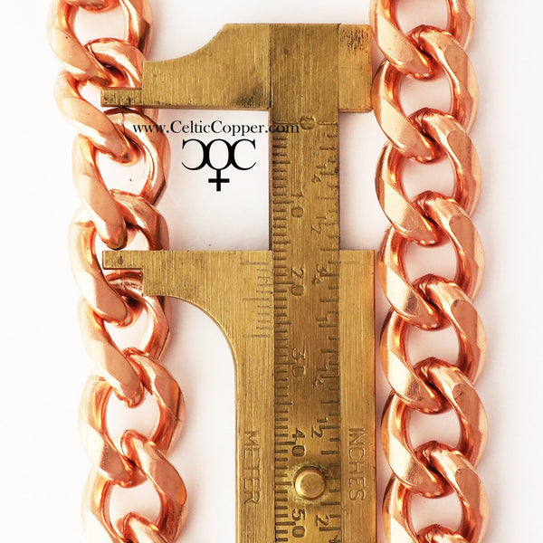 Custom Size Bold Heavy Duty Solid Copper Cuban Curb Link Bracelet Chain BC79, Men's Custom Bracelet Chains celtic-copper-jewelry.myshopify.com