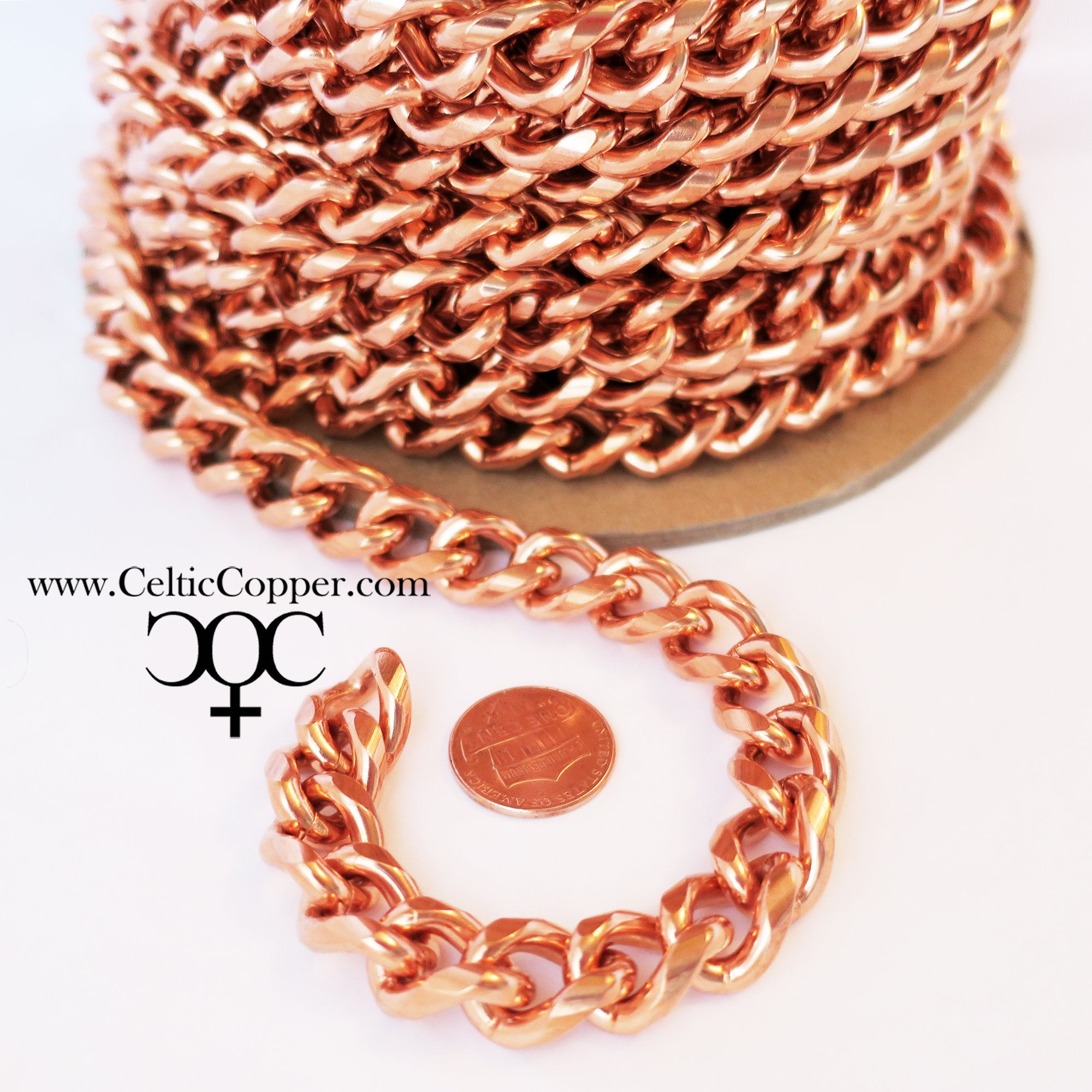 Heavy-Duty Curb Chain by the Foot, Bulk Chain, Jewelry Supplies and Findings for Men's Jewelry, Bracelets & Necklaces F79 celtic-copper-jewelry.myshopify.com