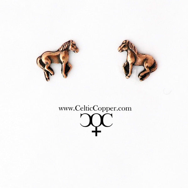 Copper Walking Horse Motif Earring Studs EC25 Solid Copper Jewelry Post Earrings with Hypoallergenic Steel Post celtic-copper-jewelry.myshopify.com