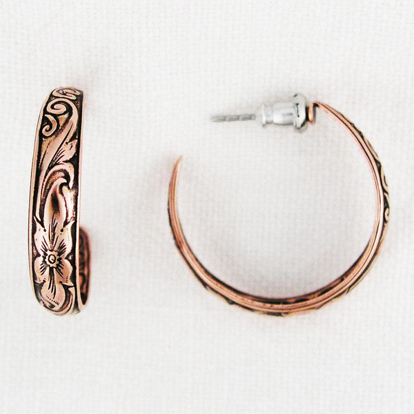 Floral Embossed Copper Hoop Earrings EC80 Solid Copper Jewelry Post Style Copper Hoop Earrings celtic-copper-jewelry.myshopify.com