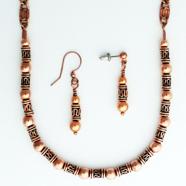 Copper Earrings With Handmade Copper Drop Pipeline Beads celtic-copper-jewelry.myshopify.com
