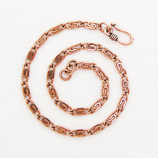Set of 2 Copper Fine Celtic Scroll Chain Anklets | Adjustable Matching Set of Two Solid Copper Ankle Chains SET61A celtic-copper-jewelry.myshopify.com