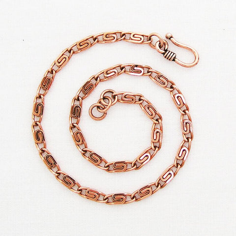 Fine Celtic Scroll Chain Copper Anklet AC61, Adjustable 3mm Solid Copper Scroll Chain Anklet celtic-copper-jewelry.myshopify.com