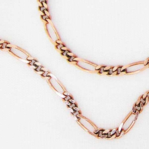 Custom Size Solid Copper Necklace Fine Figaro Style Chain Necklace NC41, Copper Necklace Choice Of Length And Clasp celtic-copper-jewelry.myshopify.com