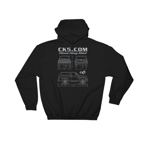 CK5 Blueprint Hooded Sweatshirt (front & back graphic)