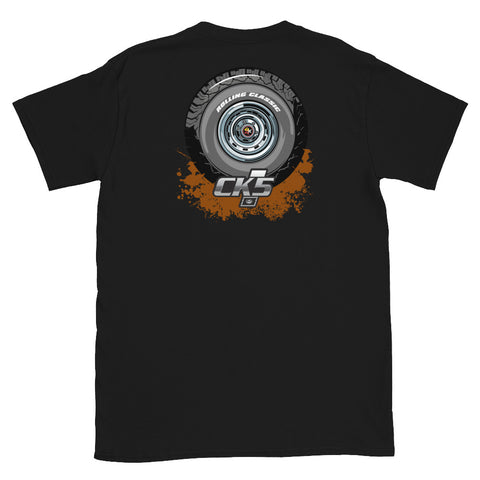 Rolling Classic Rally Wheel T-Shirt (two sided design)