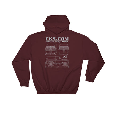 CK5 Blueprint Hooded Sweatshirt (two sided design)