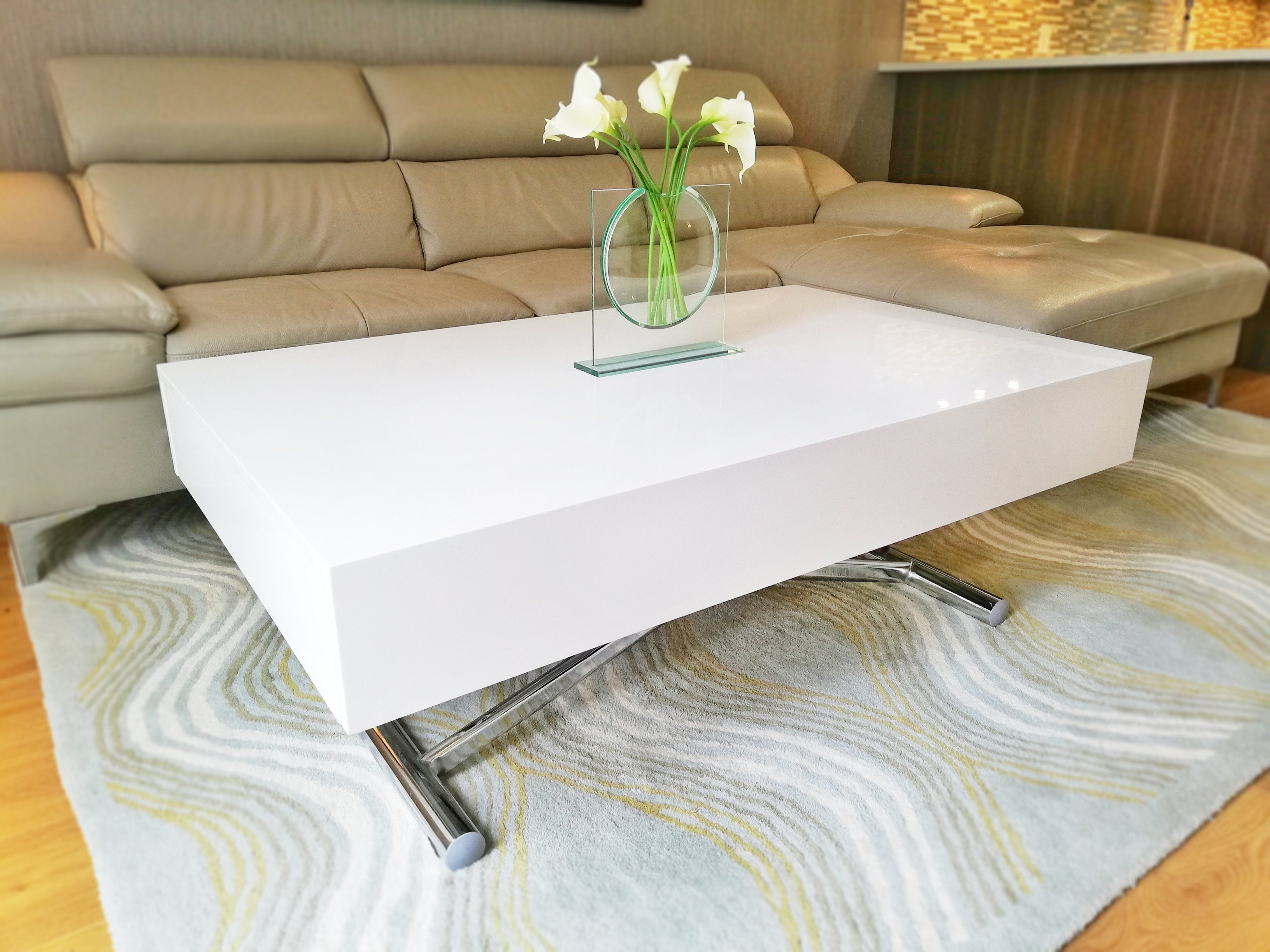 Largenta Expanding Coffee Table That Converts To Dining Seats 8