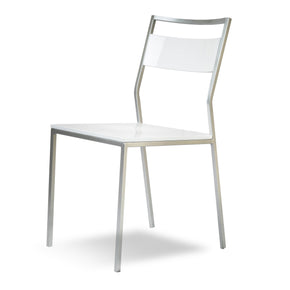 Bellamy - Stylish glossy chrome frame chair white gloss