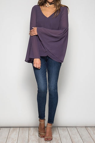Bell Sleeve Top with Tie Back