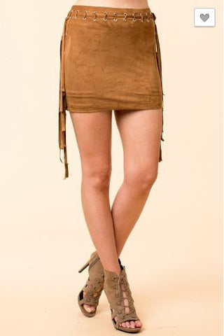 Suede Mini Skirt with Fringe Detail