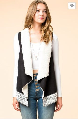 Sleeveless Knit/Fleece Vest with Lace Detail