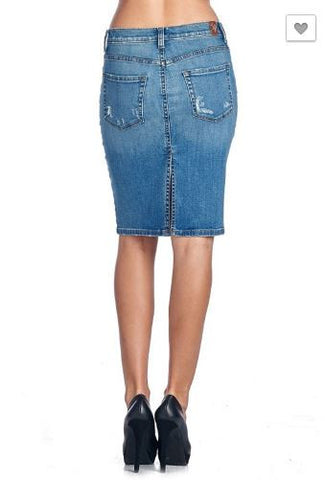 Destructed Denim Skirt