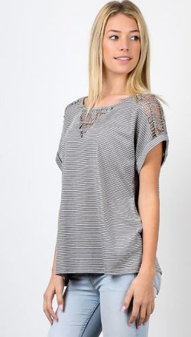 Grey Cotton Short Sleeve Top W/ Knot Detail