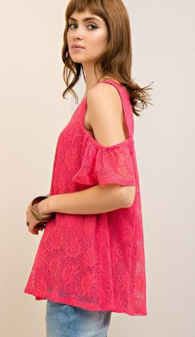 Solid Lace Open-Shoulder Top Ft Back Keyhold Button