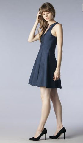 Navy Deep V Fit N Flare Dress