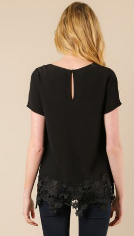 Woven Top with Crochet Lace Hem.