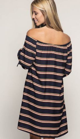 Off-Shoulder Stripe Shift Dress