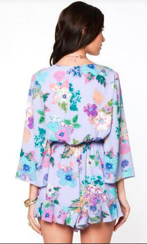 3/4 Sleeve Floral Ruffle Romper