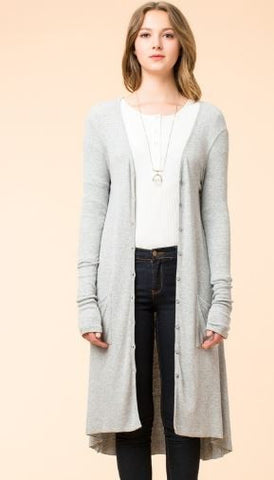 Long Button Front Cardigan