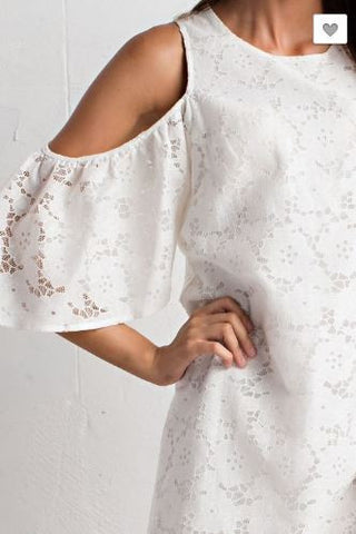 Cold Shoulder Lace Tunic Dress