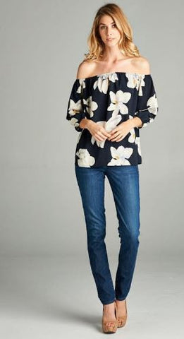 Magnolia Navy Off Shoulder Top