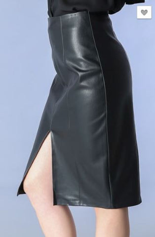 Leather Fitted Pencil Skirt