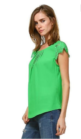 Woven Blouse with Lace Cap Sleeve