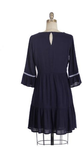 3/4 Sleeve Dress With Embroidery