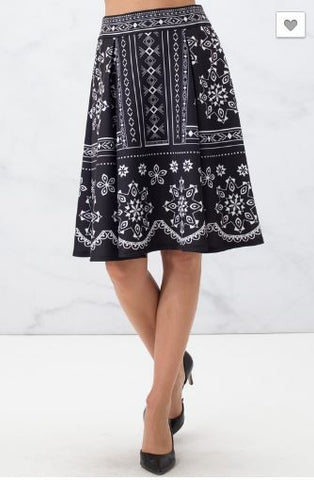Black Flare Skirt with Ethnic Print
