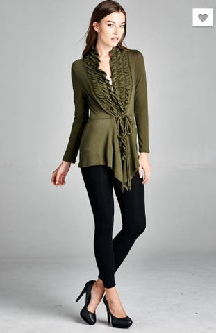Ruffle Front Cardigan with Waist Tie