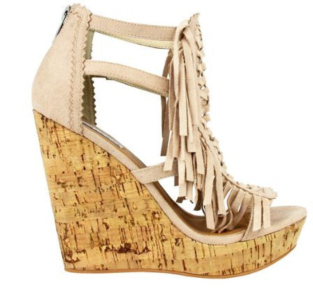Honey Buns Suede Wedge with Fringe Detail