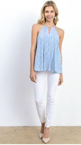 Halter Neck Mixed Media Top