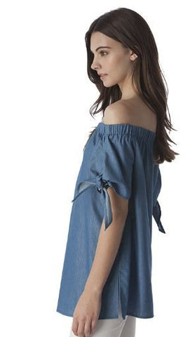 Denim Off-Shoulder Tunic Top
