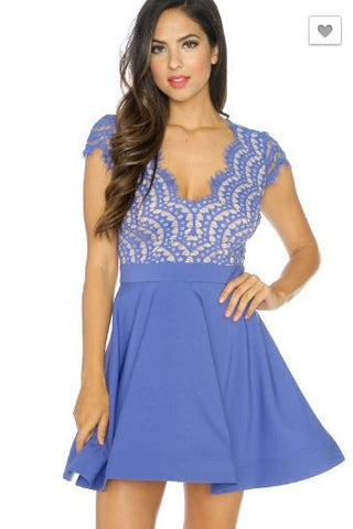 Eyelash Lace Mini Flare Dress