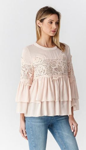 Tiered Lace Detail Top