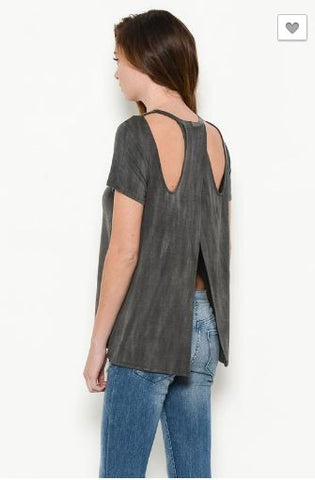 Stone Washed Top with Open Back