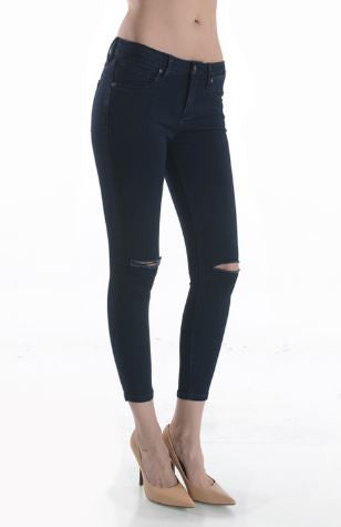Just Black Cut-Out Knee Skinny Jeans-Dark wash