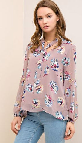Long Sleeve Front Tie Floral Top
