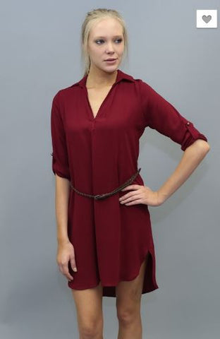 3/4 Sleeve Collared Shirt Dress With Belt