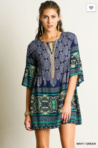 Relaxed Butterfly sleeve Print Dress